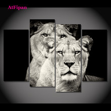 AtFipanUnframed Black and White Lion Spray Painting Canvas Modern Abstract Decorative Canvas Art Work Prints On The Living Room