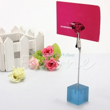 1PC Desk Cube Wire Card Clip Picture Memo Note Photo Holders Wedding Table Stand