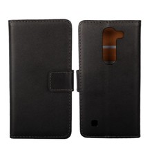 "1PCS New Black Genuine Leather Folding Pouch ID Wallet Book Protection Case for LG Spirit 4G LTE H440 (4.5"") with Card Holder(China)"