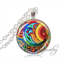 Mexican Art Picture Pendant Silver Chain Art Deco Necklaces Pendants Glass Dome Statement Necklace Women Handmade Jewerly