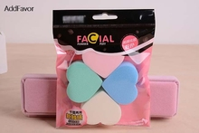 AddFavor 4Pcs Heart 4Colors Green White Blue Pink Makeup Powder Puffs Face Makeup Sponge Tool Beauty Make Up Soft Cosmetic Puff