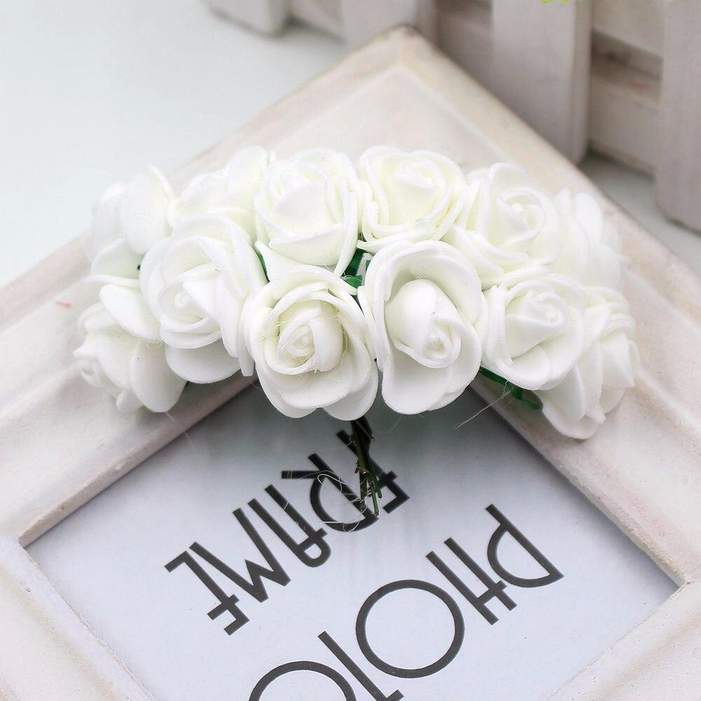 12pcs/lot New Hot 2cm Head Multicolor PE Foam Mini Flower Artificial Rose Flowers Bouquet wedding decorative flowers wreaths 16