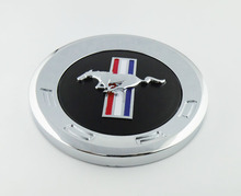 Auto chrome Black Running Horse Pony for Mustang Trunk DECK LID Panel Emblem Badge Sticker(China)