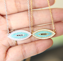 promotion 100% 925 sterling silver pave turquoises gold silver colors High quality simple bohemian necklace(China)