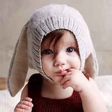 2016 New Winter Baby Girls Boy Knitted Hats Soft Crochet Baby Bunny Hats Protector Cap Children Pullover Baby Kids Knitted Hat(China)