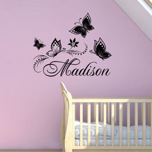 Hot Selling Personalized Custom Name Butterflies Wall Sticker Girls Room Art Decorate Wall Mural Vinyl Wall Decal Y-588