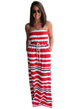 Off Shoulder Red Striped Print High Waist Dress With Belt Long Maxi Tube Beach Beach Dress Casual Girl Fashion High Quality