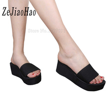 2017 Summer Woman Shoes Platform bath slippers Wedge Beach Flip Flops High Heel Slippers For Women Brand Black Eva Ladies Shoes(China)