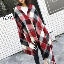 New classic England checkered scarf shawl Thick imitation cashmere autumn and winter scarves female wild scarf Fashion style(China)