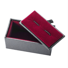 2017 New Stripe Cufflinks Box Fashion Gift Box Black Cuff links Case with red inside Tie clip box
