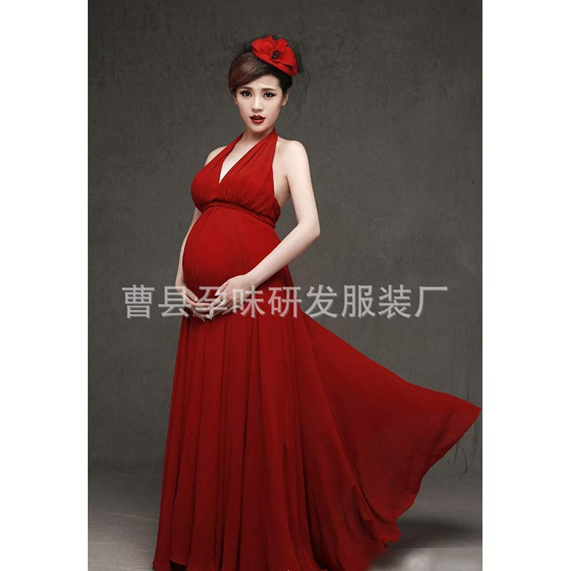 Maternity photography Dress Clothes For Pregnant Women Dress Pregnancy Clothes Photography Red Long Maternity Dress<br>