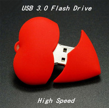 Red Heart Hearts USB 3.0  Flash Pen drive Driver Genuine 8GB 16GB 32GB Flash Memory Stick Pendrive Pendriver U disk Wedding gift