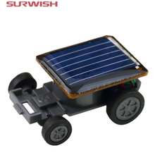 Surwish Smallest Funny Mini Solar Powered Robot Auto Car Toys for Children Kids - Black(China)