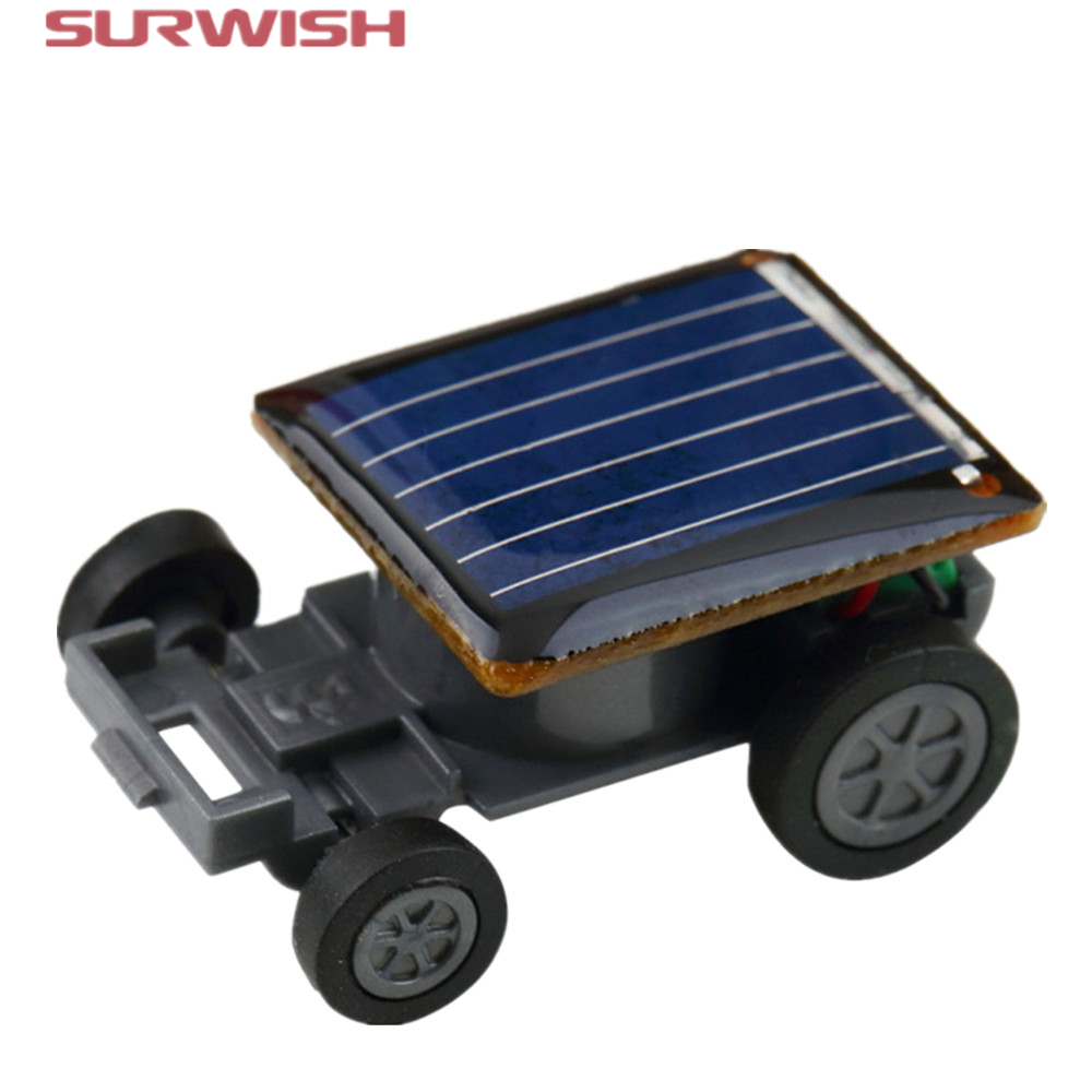 Surwish Smallest Funny Mini Solar Powered Robot Auto Car Toys for Children Kids - Black(China (Mainland))