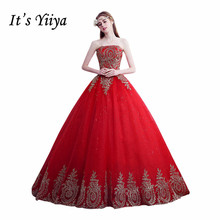 It's YiiYa Train Wedding Gown Strapless Trailing Red Fashion Vestidos De Novia Cheap Wedding Frock Bride Dress XXN140(China)