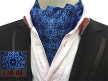 CityRaider 2017 New Woven Paisley Floral Mens Cravat Ascot Scrunch Self British Style Gentleman Men's Silk Neck Tie Blue CR012