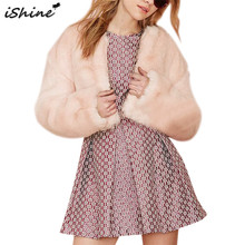 iShine Faux Fur Coat Women 2017 Luxury Warm Winter Fake Fur Long Sleeve Jacket Elegant Ladies Outwear Short Wedding Clothes(China)