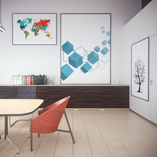 Abstract Modern World Map Graphic Color Poster Print Wall Art Image Living Room Canvas Oil Painter Decoration No Frame OT002
