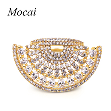 Brand Gold Fan Shape Hollow Big Sector Rings Exaggerated Luxury AAA Cubic Zirconia Shining Jewelry For Women Party zk30(China)