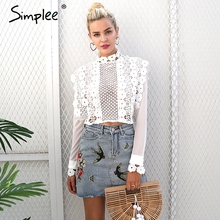 Simplee Sexy white lace flower blouse shirt Hollow out mesh transparent blouse blusas Women long sleeve blouse tops christmas(China)