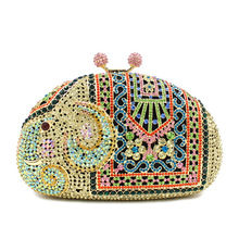 BL045 Luxury diamante evening bags colorful clutch bags women party purse dinner bags crystal handbags gemstone wedding bags(China)