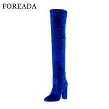 Buy FOREADA Luxury Women Winter Boots Velvet Knee Boots High Heel Thigh High Boots Autumn Zip Pointed Toe Stretch Shoe Blue Red for $51.98 in AliExpress store