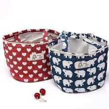 Triangle Tree Cooler Cotton Bag Thermal Insulated Lunch Box Whale Tote Cute Heart Bento Pouch Bear Lunch Container