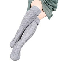 Winter Women Stockings Step Foot Knit Woolen Yarn Over Knee Stocking High Thigh stretchy Soft Stockings Mujer Medias(China)