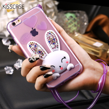 KISSCASE For Apple iPhone 5 SE Case Fashion Clear Bling Crystal 3D Rabbit Cover For iPhone 5S Cute Bunny Kick-Stand Soft TPU