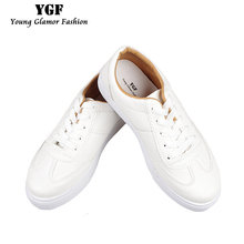 YGF New Breathable Flat Platform Shoes Women 2017 Spring Autumn Flats Shoes Lace Up Creepers Women Platforms Casual Shoes White