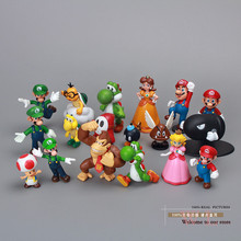 18pcs/set Plastic Super Mario Bros Action figures Toys Dolls for Kids birthday/Christmas Gift(China)