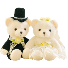2pcs/pair 20cm Couple Bear Wedding Teddy Bear Plush Toys Wedding Gift Christmas Gift Wholesale free shipping(China)