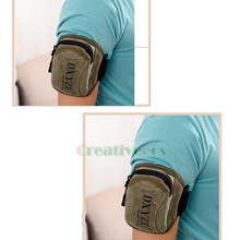 Men's Canvas Pouch Wrist Arm Band Hip Bum Belt Waist Cell Mobile Phone Bag