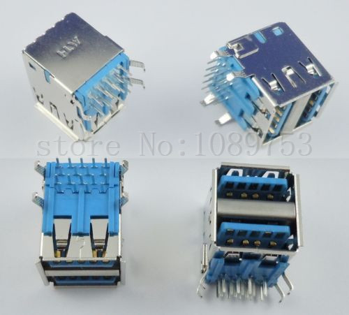 50 Pcs Dual USB 3.0 Type A 18 Pin Female Right Angle Socket Connector<br>