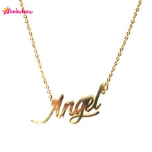 "AOLOSHOW Script Name "" Angel "" Gold color Lady Stainless Steel Necklace Gift Name Necklace Tiny Nameplate Necklace ,NL-2414"