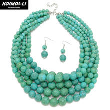 KOSMOS-LI Ethnic Beads Necklace plastic resin women Statement Necklace trendy Chokers necklaces party jewelry 6510(China)