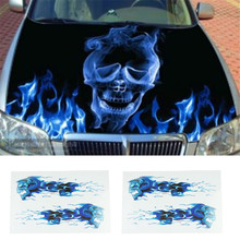 High Quality Automobile motorcycle necessary high quality cheap DIY stickers/blue flames double skull image(China)