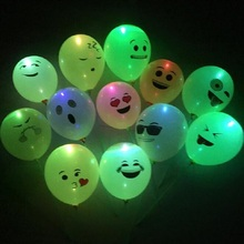 Emoji LED Latex Balloons Smiley Face Expression Light Balloon Inflatable Glowing Globos for Hen Party Decoration New Year 75D(China)
