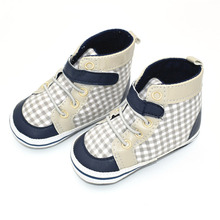 1 Pairs baby shoes Brand Newborn Baby Boys Shoes Kids Plaid Sports Footwear Infant Sapatos Newborn Prewalker Canvas Shoes(China)