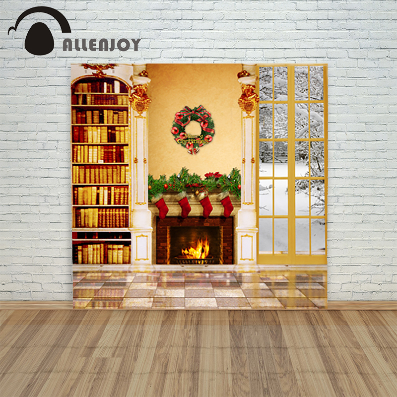 Christmas backdrop background cloth Fireplace window  wreath bookshelf xmas camera prop photo shoots pictures<br><br>Aliexpress