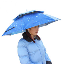 Outdoor Large double-deck Cycling Fishing Hiking Beach Camping Women Men Kid Sunshade Sunny Rainy anti-UV Umbrella Hat Cap YS100(China)