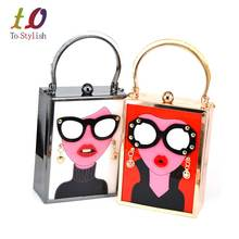 Brand Luxury Acrylic Evening Bag Women Funny Cute HandBags Glasses Girls Chain Day Clutch Vintage Red Mini Party Purse z912