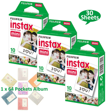 Fujifilm Instax Mini 8 White Film 30 PCS Photos + Free Album For Fuji 70 9 25 25i 50s NEO 90 Instant Camera SP-1 SP-2 Printer(Hong Kong)