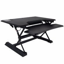 Shellhard 90x60CM Laptop Desk Standing Adjustable Height Stand Up Desk Computer Desk Table Workstation Black