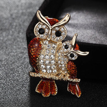 Fashion Two Owl Brooch Jewelry Cute Animal Hijab Accessory Statement Brown Enamel Scarf Pins Jewelry Men's vintage Broches