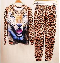 2016 Hot New Women's Clothing 3D Print Animal Tiger Camouflage Leopard Sweatshirt Hoodies  2 Piece Suit Women tracksuits