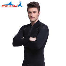 DIVE&SAIL Neoprene Top Wetsuits 3MM For Men Surf Diving Suit Long Sleeve Front Zipper Winter Swim Warm Surf Upstream(China)