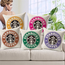 High Quality Fashion Style Starbucks Coffee Cotton Linen Cushion Decor Fundas Sofa Throw Pillow Printed Almofadas Square Cojines