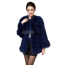 ee2afd014d Fashion Real Ostrich Fur Jacket Elegant Womens Turkey Fur Coats Casual  Spring Autumn Solid Outwear LX00276-in Real Fur from Women s Clothing on ...