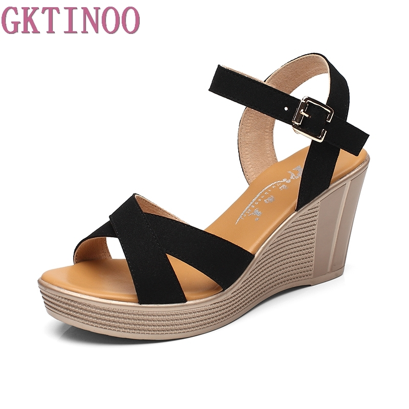 GKTINOO Women Sandals 2018 Summer New Wedges Sandals Fashion High Heels Women Shoes Flock Big Size 33-41 Zapatos Mujer<br>
